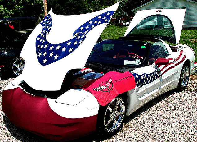 The American Flag Decorated Corvette Car