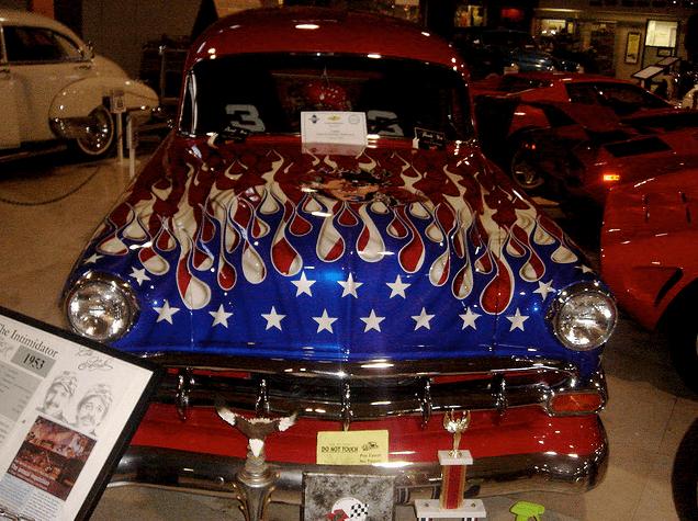 American Flag Classic Car