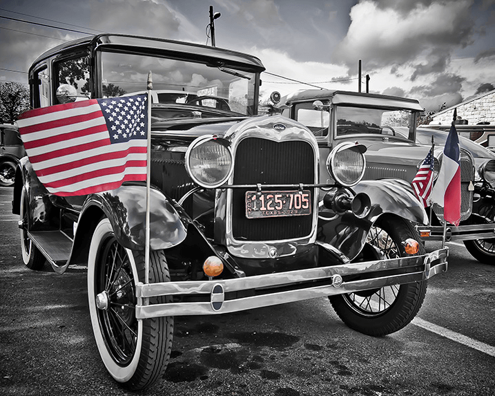 1929 Ford Model A Car with American Flags