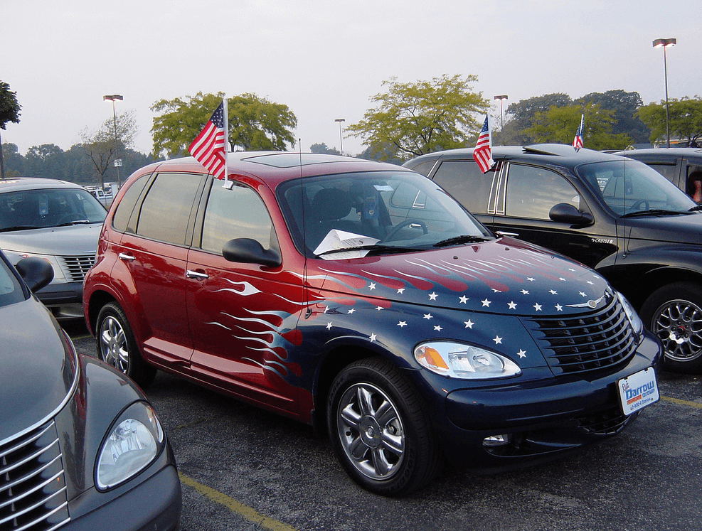 American Flag PT Cruiser Car