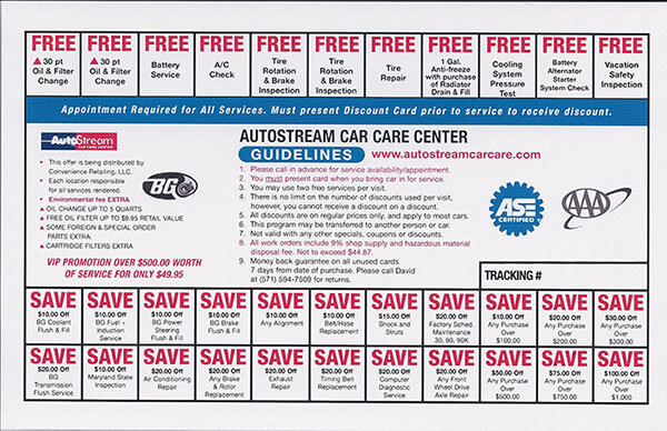 Car service discount coupons